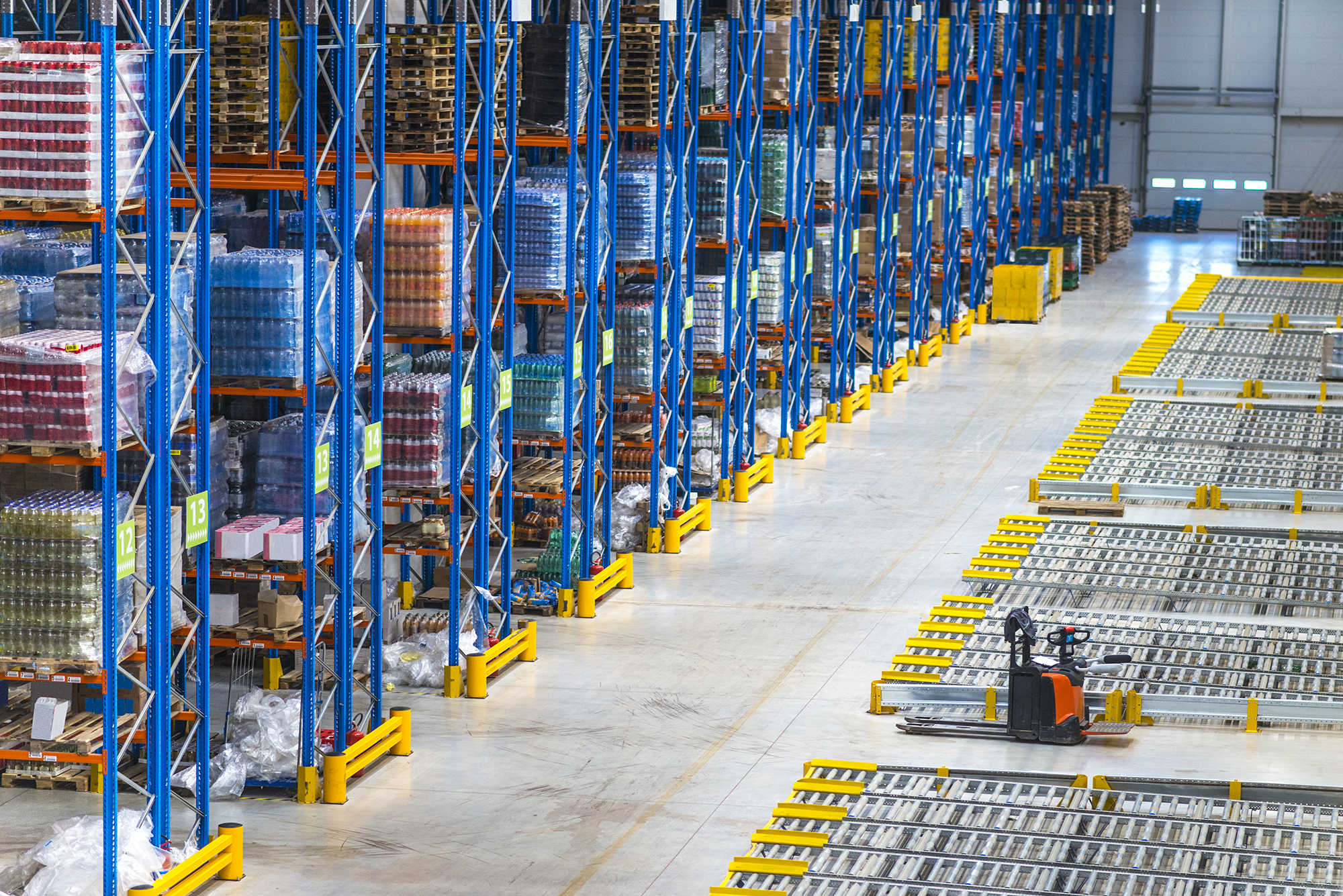 Interior of a large distribution warehouse.